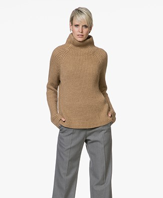 Drykorn Arwen Rib Knit Turtleneck Sweater - Camel