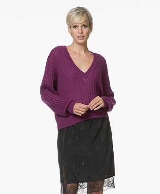 IRO Wall Cropped V-neck Pullover - Magenta Purple