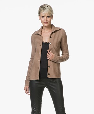 Joseph Rib Knit Cardigan in Soft Wool - Camel