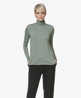 Majestic Filatures Superwashed Jersey Turtleneck T-shirt - New Army