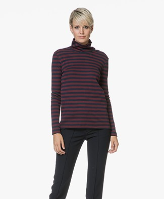 Petit Bateau Striped Turtleneck in Cotton - Smoking/Ogre