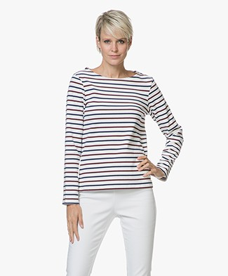 Petit Bateau Trusty Striped Pullover - Marshmallow/Medieval/Ogre