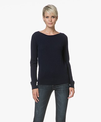 Repeat Cashmere Boothals Trui - Navy
