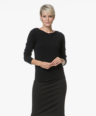 Repeat Cashmere Boat Neck Pullover - Black