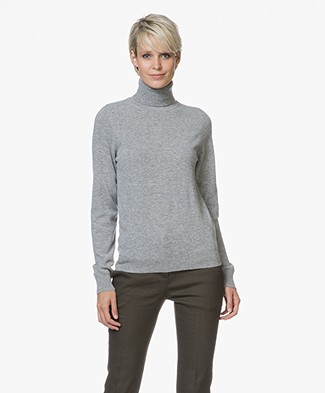 Repeat Cashmere Fine Knitted Turtleneck Pullover - Light Grey