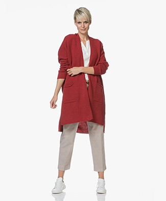 Sibin/Linnebjerg Heart Merino Wool Cardigan - Deep Red