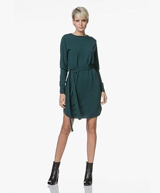 Sibin/Linnebjerg Juliette Sweater Dress with Optional Turtleneck Collar - Bottle green