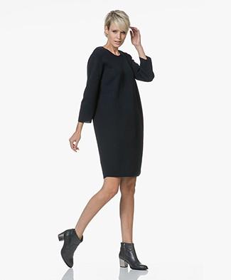 Sibin/Linnebjerg Savanna Merino Wool Blend Knitted Dress - Navy