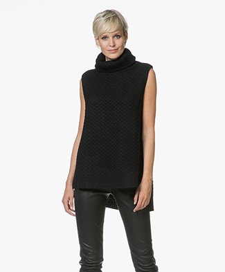 Zadig & Voltaire Grace Deluxe Sleeveless Turtleneck Pullover - Black