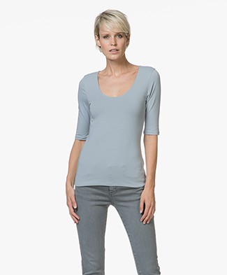 Filippa K Cotton Stretch Scoop Neck T-Shirt - Dove Blue