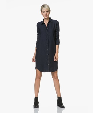 Majestic Filatures Cotton Shirt Dress with Jersey Back Panel - Marine
