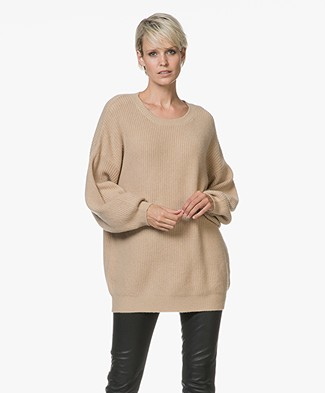 Repeat Oversized Pullover in Wool and Cashmere - Camel