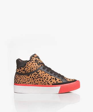 Rag & Bone RB Army High Leather Sneakers - Tan Cheetah