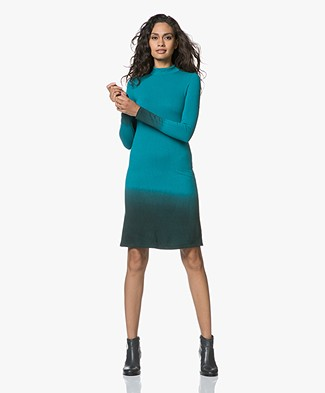 Kyra & Ko Hailey Fine Knitted Dip-dye Dress - Turquoise