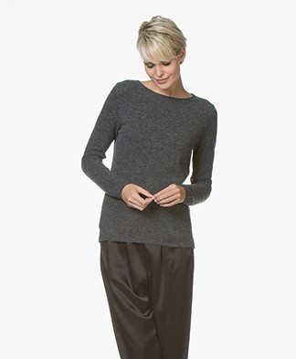 Belluna Indigo Boat Neck Sweater with Cashmere - Anthracite