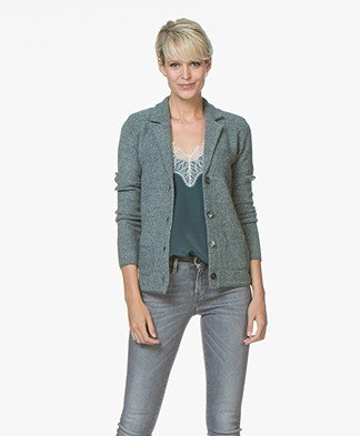 Belluna Fiore Blazer Cardigan with Cashmere - Green/Ash
