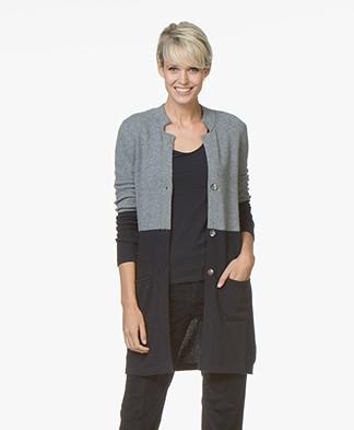 Belluna Holiday Half-length Color-block Cardigan - Grey/Navy