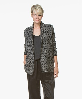 Belluna Valerio Open Cardigan with Shawl Collar - Black/Beige