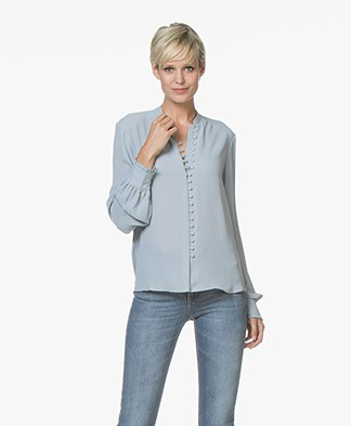 Filippa K Sheer Button Blouse - Dove Blue