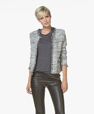 IRO Unplug Open Blazer Jacket with Lurex - Ecru/Grey