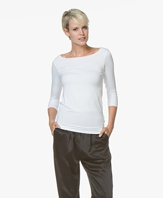 Majestic Filatures Adele T-shirt with Three-quarter Sleeves - White