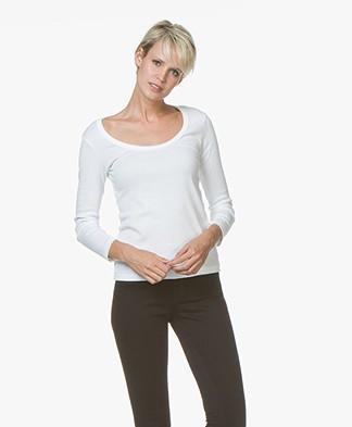 Petit Bateau T-shirt met Driekwart Mouwen - Wit