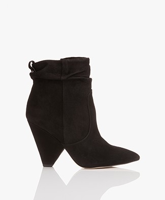 Sam Edelman Roden Kid Suede Leather Ankle Boots - Black