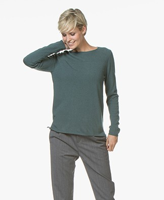 Belluna Indigo Boat Neck Sweater with Cashmere - Green