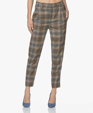 Drykorn Find Wolmix Pantalon met Ruitdessin - Camel