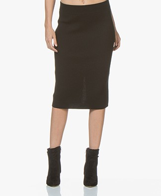 Drykorn Kama Pure Wool Knit Skirt - Black