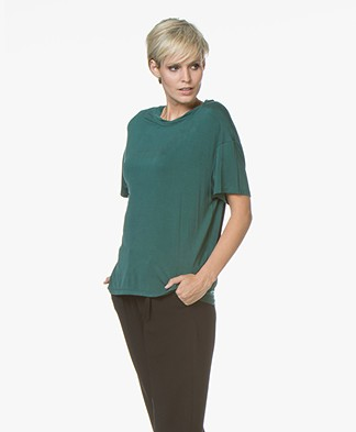 Drykorn Kyla Cupro T-shirt - Bottle Green
