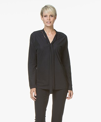 JapanTKY Fabia Bow Blouse in Travel Jersey - Black