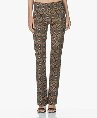 JapanTKY Yaza Flared Jersey Pants with Snake Print - Snake