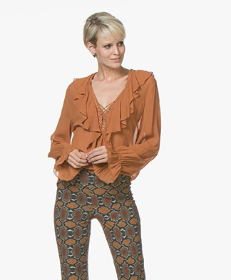 Magali Pascal Leonie Blouse met Vetersluiting - Topaz