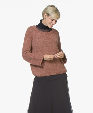 no man's land Mohair Blend Sweater - Sienna