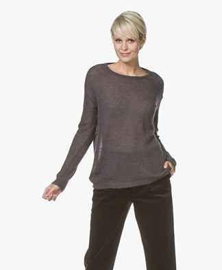 no man's land Loose Knitted Sweater in Mohair Blend - Lava