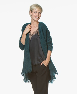 no man's land Open Merino Blend Cardigan with Fringes - Emerald
