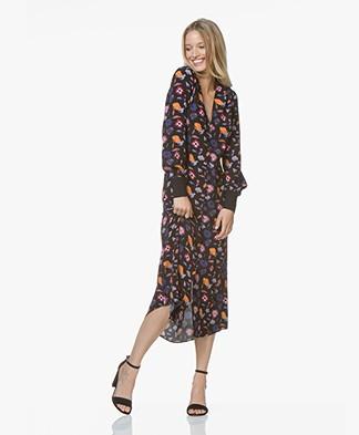 ba&sh Malny Button-down Dress with Print - Black