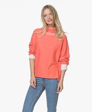 Josephine & Co Jaco Cotton Blend Turtleneck Pullover - Coral