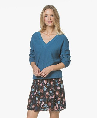 Marie Sixtine Émie V-neck Pullover in Cotton - Ocean