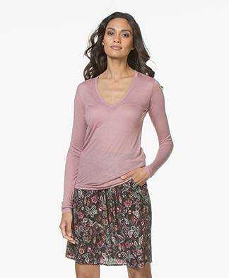 Closed V-hals Longsleeve met Cashmere - Rose