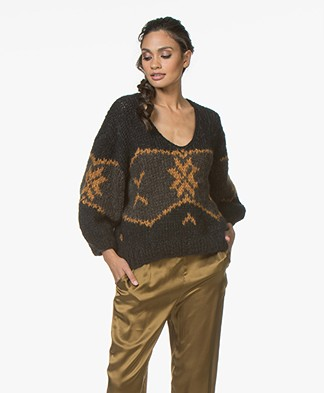 Mes Demoiselles Sigmund Mohair Blend Jacquard Sweater - Black