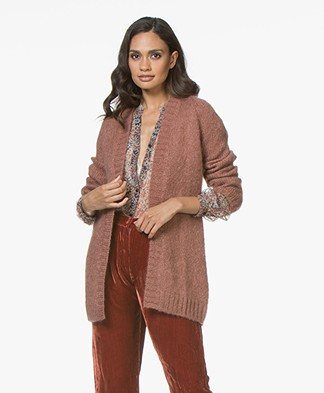 no man's land Mohair Half Long Open Cardigan - Sienna