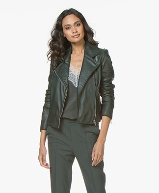 Drykorn Ceylon Leather Biker Jacket - Bottle Green