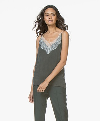 Drykorn Letitia Cupro Camisole with Lace - Bottle Green