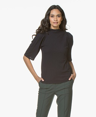 Filippa K Cotton Crepe Pleat T-shirt - Navy