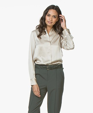 Filippa K Shiny Satin Blouse - Sandstone