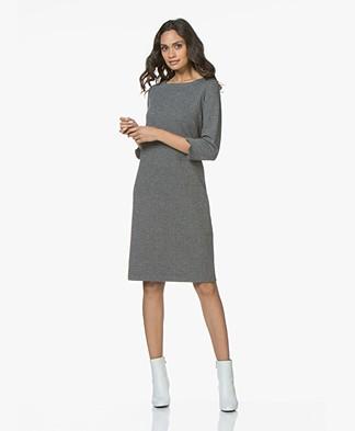 Josephine & Co Jos Jersey Cropped Sleeve Dress - Herringbone Dark Grey