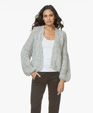 Kiro By Kim Chunky Knit Mohair Blend Cardigan - Beige/Grey