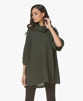 LaSalle Oversized Turtleneck in Wool Blend - Khaki Green